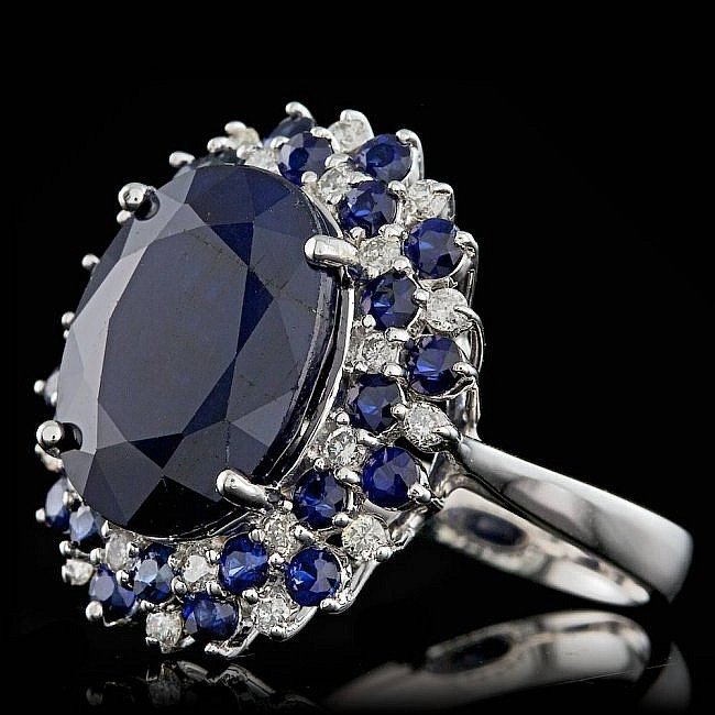 Lot 5 14k White Gold 13ct Sapphire 0.50ct Diamond RingB